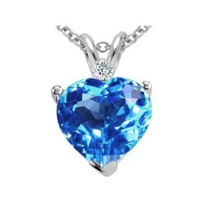 Genuine Blue Topaz and Diamond Heart Pendant - diamond luck